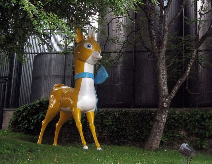 the famous Babycham figure that was traditionally on the roof of the Showerings' factory