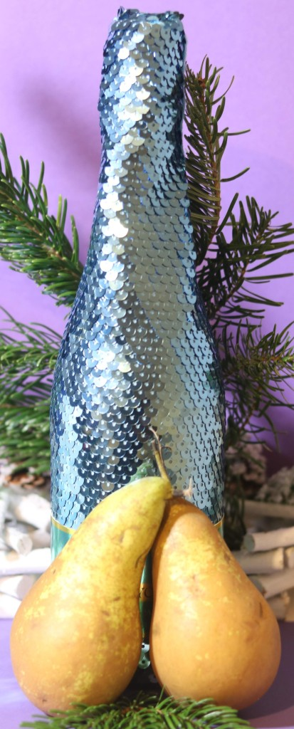 Sequinned Babycham bottle with two Conference pears