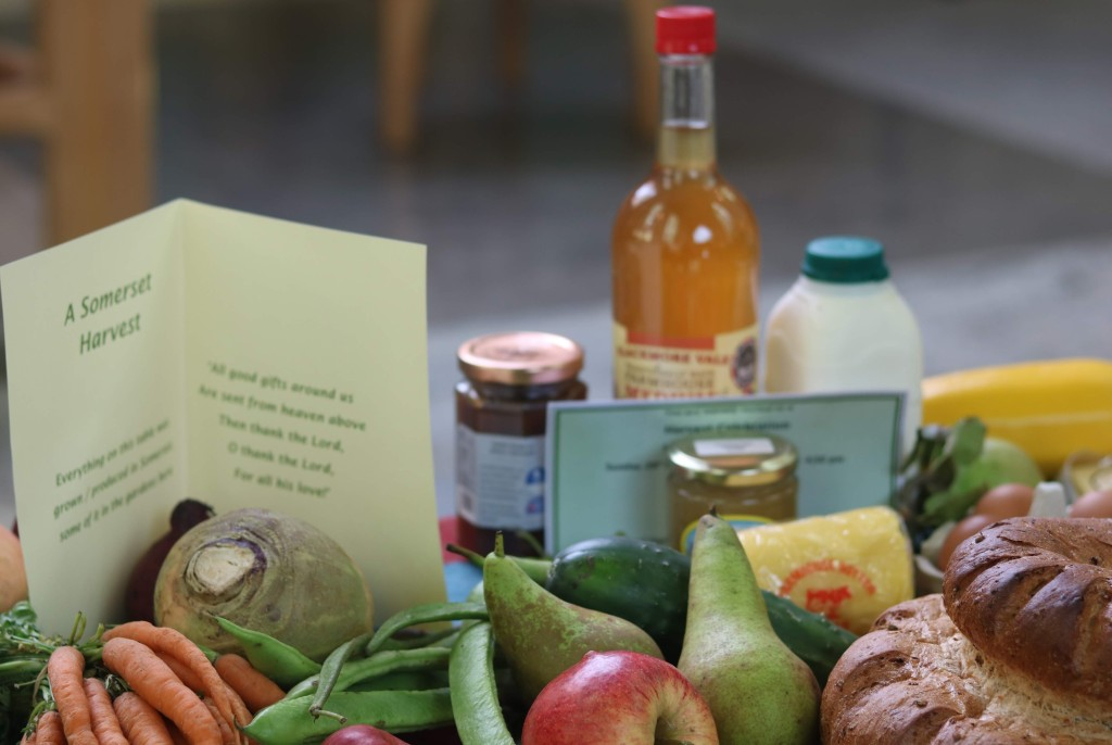 2019 Harvest Festival Display of Somerset Produce in the Bishop's Palace Chapel, Wells.